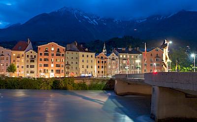 Innsbruck on the Inn River at blue hour in Austria. CC:SharksshockUSA