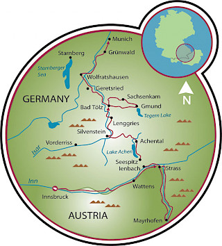 Innsbruck to Munich Map