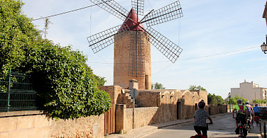Bikers admiring the windmill in Mallorca. Photo courtesy of Tour Operator.