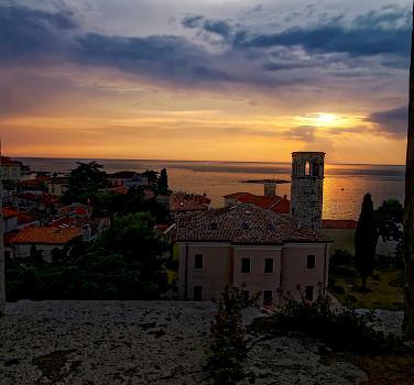 Sunset from Euphrasian Basilica in Porec, Istria, Croatia. Photo via Flickr:Christoph Sammer