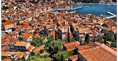 Harbor as seen from Campanile of Saint Euphemia Church in Rovinj, Istria, Croatia. Photo via Flickr:Mario Fajt