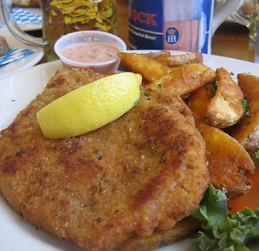 Schnitzel and beer for lunch! Photo via Flickr:virtualern