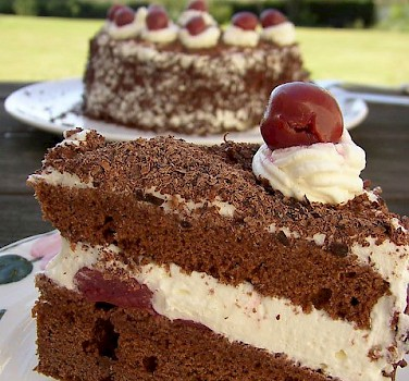Schwarzwälder Kirschtorte, a popular cake in Germany. Photo via Flickr:kochtopf