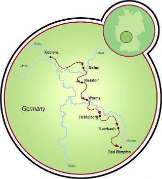 Koblenz to Bad Wimpfen Map