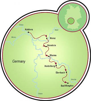 Koblenz to Bad Wimpfen Map