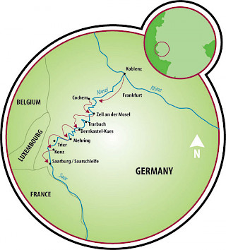 Koblenz to Saarburg Map