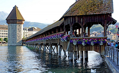 Chapel Bridge on Lake Lucerne in Lucerne, Switzerland. Photo via Flickr:Dennis Jarvis