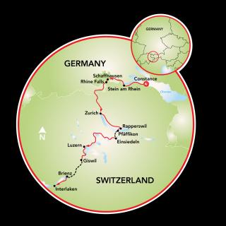 Lake Constance to Interlaken Bike Tour Map