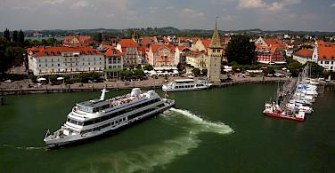 Boats in harbor on Lindau Island, Lake Constance, Germany. Photo via Flickr:Jura