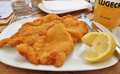 Schnitzel is a favorite in Austria & Germany. Flickr:travel junction