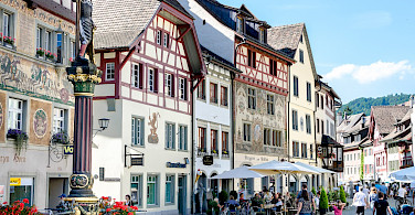 Shopping in Stein-am-Rhein in canton Schaffhausen, Switzerland. Photo via Flickr:Luca Casartelli