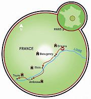 Vale do Loire - Orléans a Tours Mapa