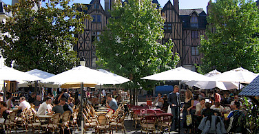 Outdoor cafe in Tours, France. Photo courtesy Tour Operator.