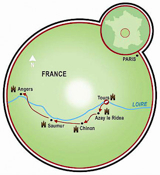 Loire Valley - Tours to Angers Map