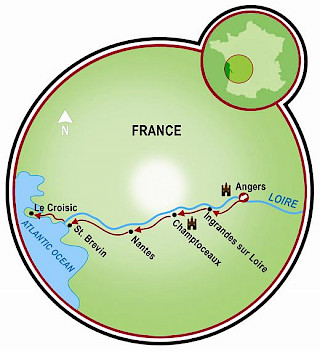 Loire Valley - Angers to Le Croisic Map