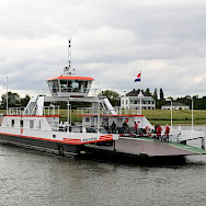 Ferry crossing in Rhine River in the Netherlands. Photo by Martin Wigtman