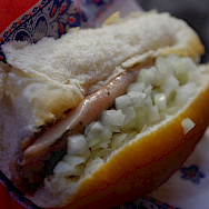 <i>Herring Broodje</i> is a local delicacy in Holland. Flickr:tomoaki INABA