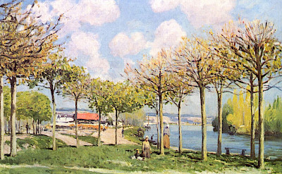 Painting of The Seine at Bougival by Alfred Sisley, 1876.