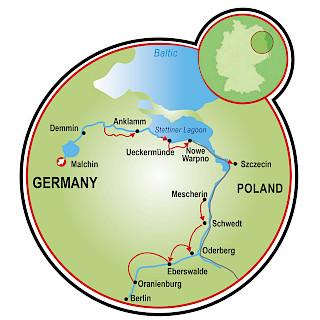 Berlim a Malchin Map
