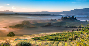 Vineyards, chateaux and foggy mornings in Italy.