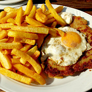 Schnitzel mit Spiegelei - great bike fuel in Germany. Flickr:Thomas Kohler
