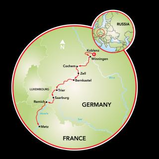 Koblenz to Metz Map