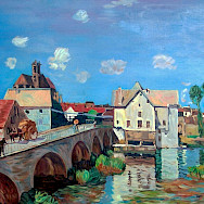 Moret-sur-Loing by Alfred Sisley. He painted the town extensively, and also died there.