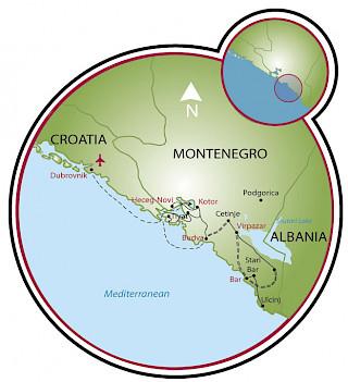 Montenegro desde Dubrovnik Map