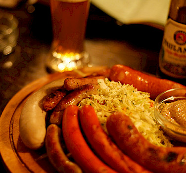 Sausages and beer! Photo via Flickr:Daniel Panev