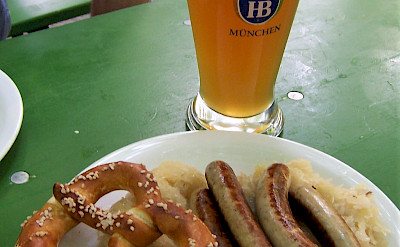Sausages, sauerkraut, pretzels and beer - typical German foods. Flickr:TeaMeister