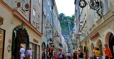 Getreidegasse in Old Town Salzburg, Austria. Photo via Flickr:Patricia Feaster