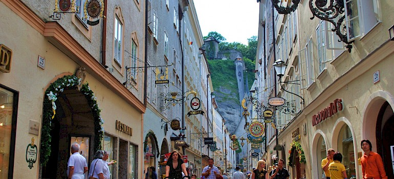 Getreidegasse in Old Town Salzburg, Austria along the Danube. Photo via Flickr:Patricia Feaster