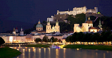 Nighttime in Salzburg, Austria. Photo via Wikimedia Commons:Jiuguang Wang