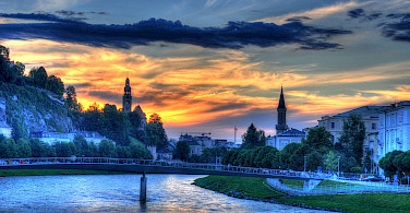 Sunset over River Salzach in Salzburg, Austria. Photo via Flickr:Mike Norton