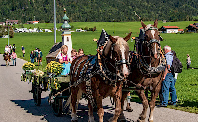 Horse-drawn carriages in Inzell in the Bavarian Alps of Germany. Flickr:Günter Hentschel