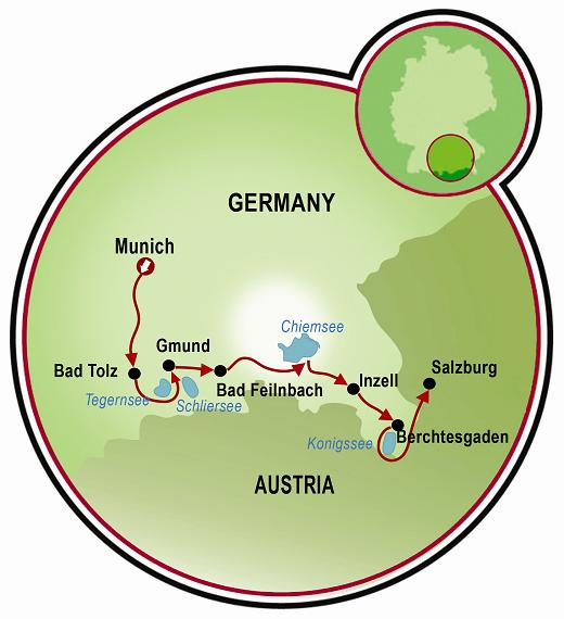 Munich To Salzburg Bike Tour Austria Germany Tripsite - Germany map salzburg