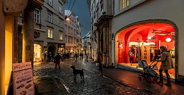 Sporgasse in Old City Graz, albeit in winter. Flickr:Bernd Thaller