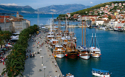 View from Kamerengo Fortress in Trogir, Croatia, where the boats are ready and waiting.