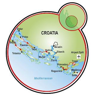Parques Nacionais da Dalmácia Map