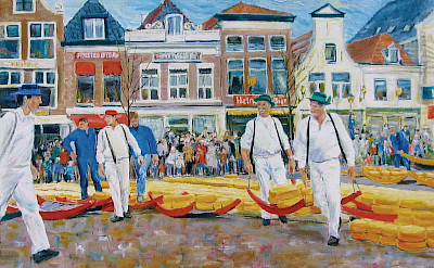 Famous cheese market in Alkmaar, North Holland, the Netherlands.
