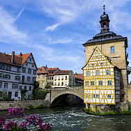 Altes Rathaus and the Regnitz River in Bamberg, Germany. Wikimedia Commons:Tamcgath