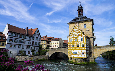 Altes Rathaus and the Regnitz River in Bamberg, Germany. CC:Tamcgath