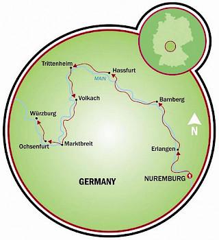 Nuremberg to Würzburg Map