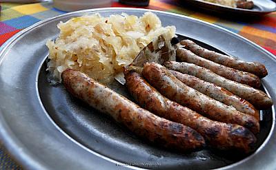 Traditional sausages & sauerkraut in Nuremberg, Germany. Flickr:Eviyanilubis