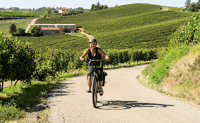 Biking among vineyards in the Piedmont region of Italy. ©Photo via TO
