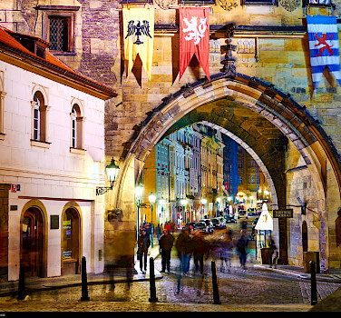 City gate in Prague, Czech Republic. Photo via Flickr:Moyan Brenn