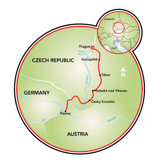 Prague to Passau Map