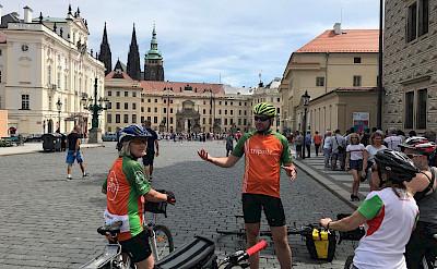 Hennie and friends biking through Prague, Czech Republic. ©
