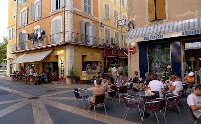 Cafe in Apt, Luberon, France. Flickr:Jean-Louis Zimmermann