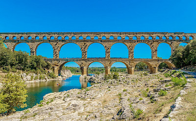 The famous Roman aqueduct, the Pont du Gard, over the Gardon River in Provence, France. Creative Commons:Jan Hager